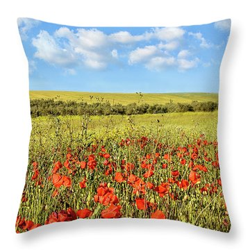 Poppy Fields Throw Pillow by Marion McCristall