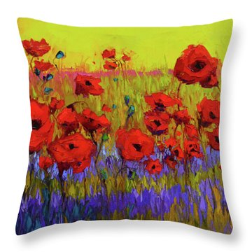 Poppy Flower Field Oil Painting With Palette Knife Throw Pillow