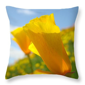Poppy Flowers Meadow 3 Sunny Day Art Blue Sky Landscape Throw Pillow by Baslee Troutman