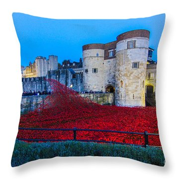 Poppy Flowers Tower Of London Throw Pillow