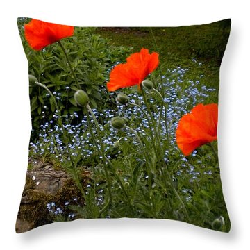 Poppy Foursome Throw Pillow by Renate Nadi Wesley