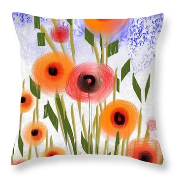 Poppy Garden Throw Pillow by Elaine Lanoue
