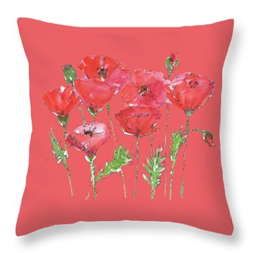 Poppy Garden Throw Pillow