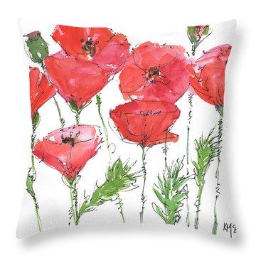 Poppy Garden Throw Pillow by Kathleen McElwaine