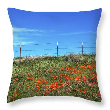 Throw Pillow featuring the mixed media Poppy Hill- Art By Linda Woods by Linda Woods