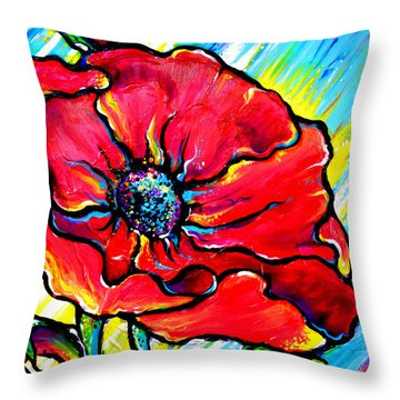 Poppy II Throw Pillow