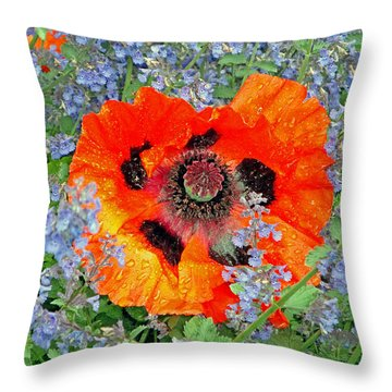 Poppy In Blue Throw Pillow