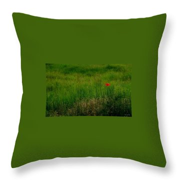 Throw Pillow featuring the photograph Poppy In The Field by Marija Djedovic