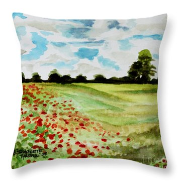 Throw Pillow featuring the painting Poppy Meadow by Elizabeth Robinette Tyndall