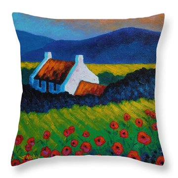Poppy Meadow Throw Pillow by John  Nolan