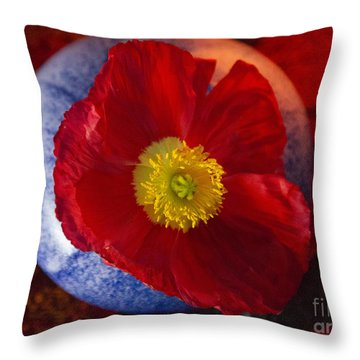 Poppy On Orange Throw Pillow
