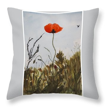 Poppy On The Field Throw Pillow by Manuela Constantin