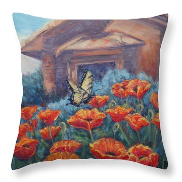 Poppy Paradise Throw Pillow