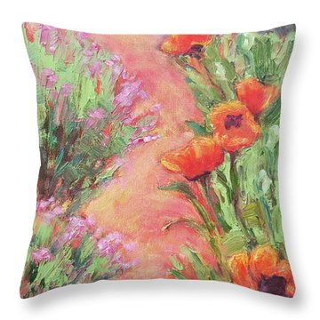 Poppy Pathway Throw Pillow