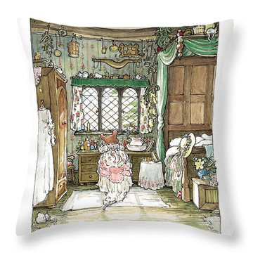 Poppy Puts On Her Wedding Dress Throw Pillow