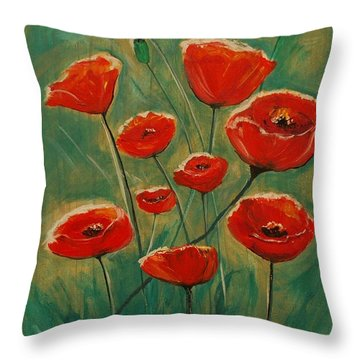 Throw Pillow featuring the painting Poppy Surprise by Leslie Allen