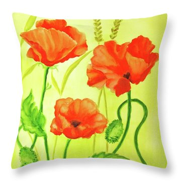 Throw Pillow featuring the painting Poppy Trio by Inese Poga