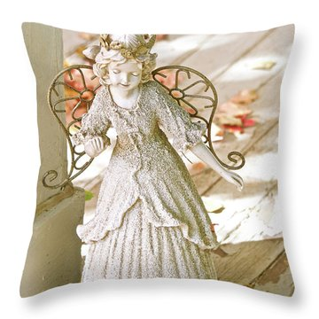 Porch Angel In The Fall Throw Pillow