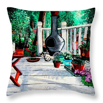 Porch Cat Sleeps Throw Pillow by Laura Brightwood