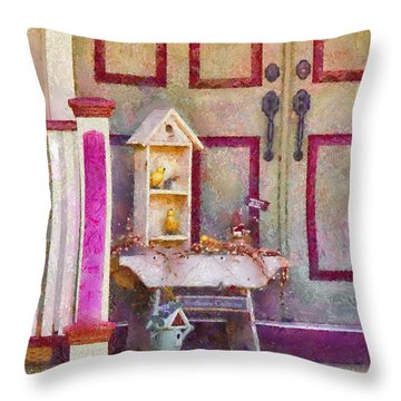 Porch - Cranford Nj - The Birdhouse Collector Throw Pillow by Mike Savad