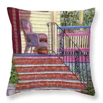 Porch With Basket Throw Pillow by Susan Savad