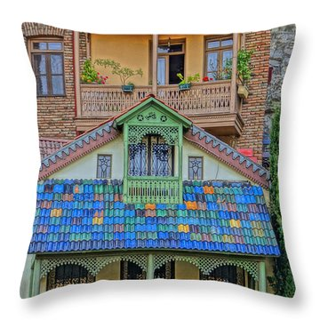 Throw Pillow featuring the photograph Porches by Dennis Cox WorldViews