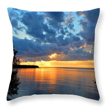 Porcupine Mountains Sunset Throw Pillow