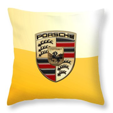 Porsche - 3d Badge On Yellow Throw Pillow