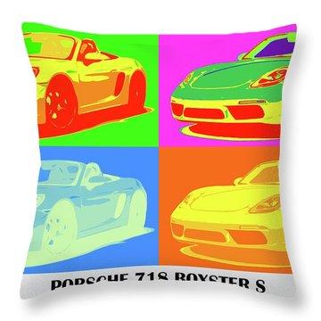 Porsche 718 Boxster S, Warhol Style, Office Decor Throw Pillow