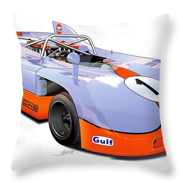 porsche 908 GULF illustration Throw Pillow