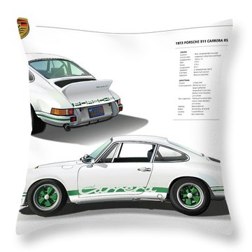Porsche 911 Carrera Rs Illustration Throw Pillow