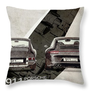 Porsche 911 Evolution Throw Pillow