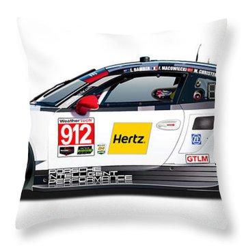 Porsche 911 Gtlm Illustration Throw Pillow by Alain Jamar