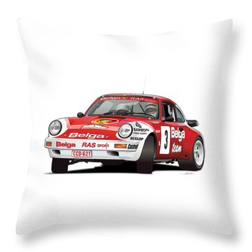 Porsche 911 Sc Rs Belga Team Throw Pillow