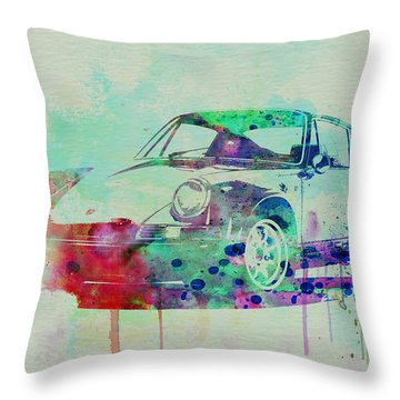 Porsche 911 Watercolor 2 Throw Pillow