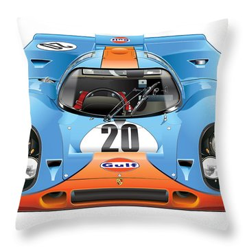 Porsche 917 Gulf On White Throw Pillow