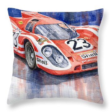 Porsche 917k Winning Le Mans 1970 Throw Pillow by Yuriy  Shevchuk