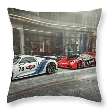 Porsche 918 Mclaren F1 Gtr And Ferrari 458 Specialea Throw Pillow