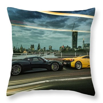 Porsche 918 Spyder And Pagani Huayra Throw Pillow