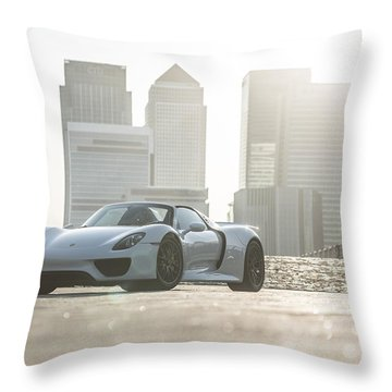 Porsche 918 Spyder Canary Wharf Throw Pillow