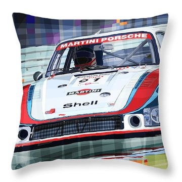 Porsche 935 Coupe Moby Dick Martini Racing Team Throw Pillow