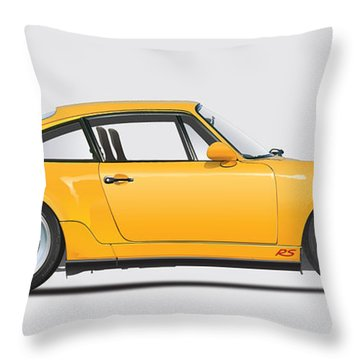 Porsche 964 Carrera Rs Illustration In Yellow. Throw Pillow