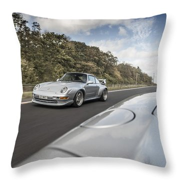 Porsche 993 Gt2 With Carrera Gt And 1973 2.7 Rs Throw Pillow