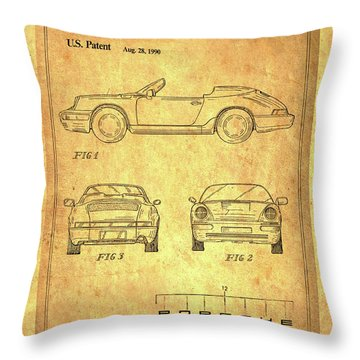 Porsche Blueprint Throw Pillow