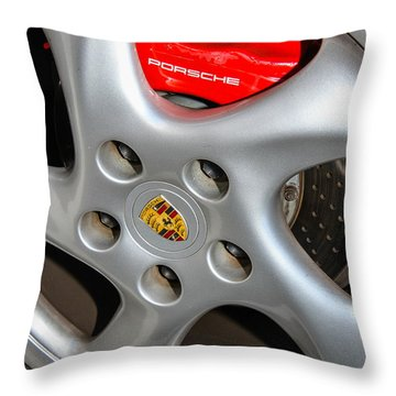 Porsche Brakes Throw Pillow by Robert Hebert