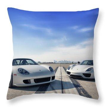 #porsche #carreragt And #918spyder Throw Pillow