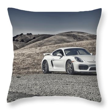 Porsche Cayman Gt4 In The Wild Throw Pillow