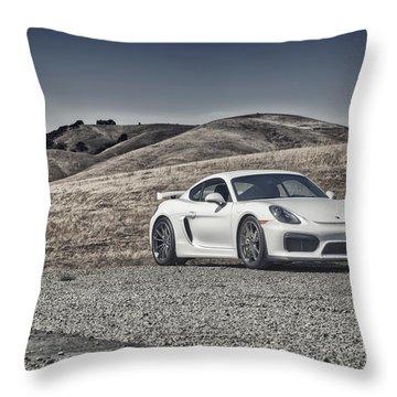 Porsche Cayman Gt4 In The Wild Throw Pillow