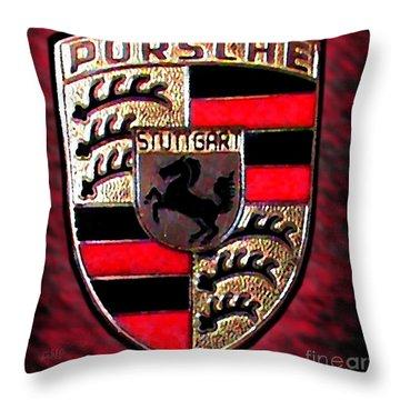 Porsche Emblem Throw Pillow by George Pedro