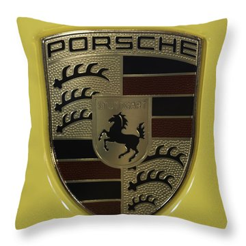 Porsche Emblem On Racing Yellow Throw Pillow